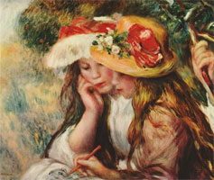 Two Girls Reading in a Garden by Renoir